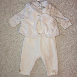 Baby White and gold matching set